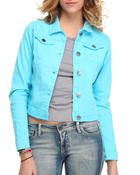 Denim Jackets - Basic denim jacket w/collar detail