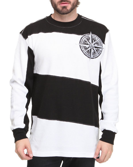 Basic Essentials Men Black Long Sleeve Slant Stripe Thermal