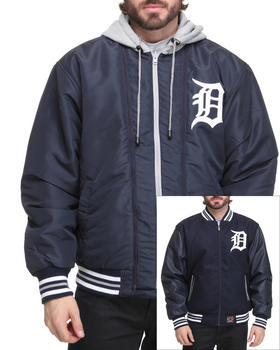 NBA, MLB, NFL Gear - Detroit Tigers Wool Reversible /Pu sleeve Jacket w/ zip out hooded fleece
