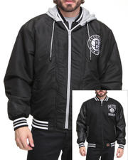 NBA, MLB, NFL Gear - Brooklyn Nets Wool Reversible /Pu sleeve Jacket w/ zip out hooded fleece