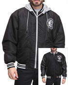 Outerwear - Brooklyn Nets Wool Reversible /Pu sleeve Jacket w/ zip out hooded fleece