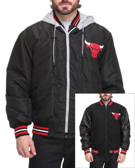 NBA, MLB, NFL Gear - Chicago Bulls Wool Reversible /Pu sleeve Jacket w/ zip out hooded fleece