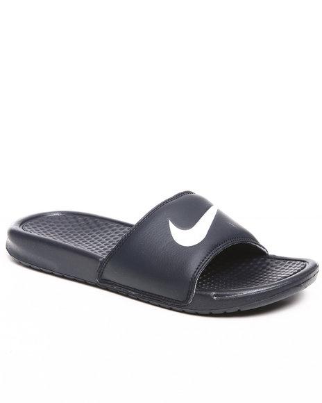 Nike Men Navy Benassi Swoosh Sandals