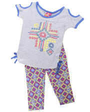4-6X Little Girls - 2pc Tribal Print Tie Tunic with Legging