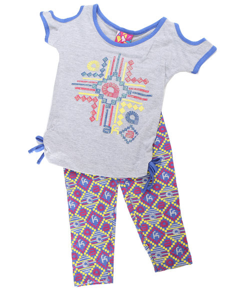 - 2pc Tribal Print Tie Tunic with Legging