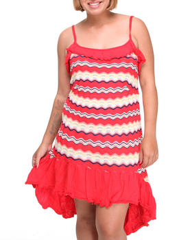 Apple Bottoms - Hi-Low Hem Striped Knit Dress (Plus)