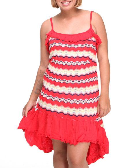 Apple Bottoms Women Red Hi-Low Hem Striped Knit Dress (Plus Size)