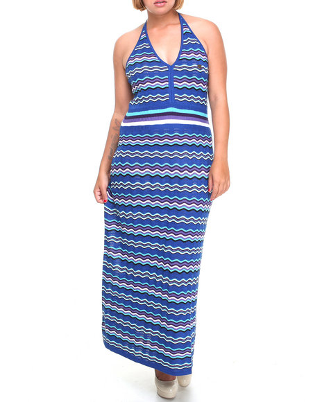 Apple Bottoms Women Blue Striped Knit Maxi Dress (Plus Size)