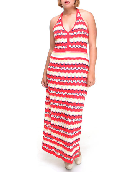 Apple Bottoms Women Red Striped Knit Maxi Dress (Plus Size)