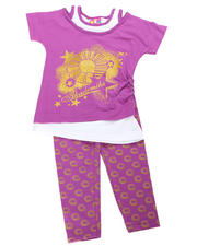4-6X Little Girls - 2pc Logo Print Tunic with Legging
