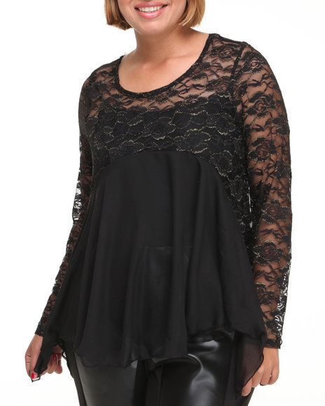 lace long sleeve top (plus)