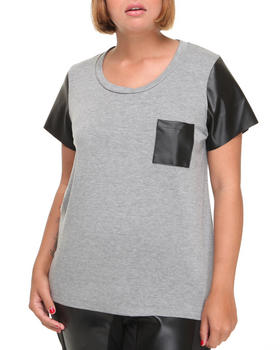 Fashion Lab - Vegan leather detail tee (plus)