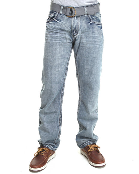 Buyers Picks - Men Medium Wash Cross Pocket Denim Jeans With Belt