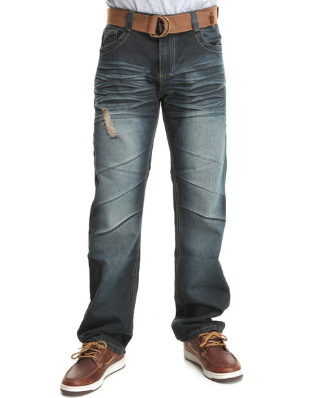 Basic Essentials Men Dark Blue Maxin Denim Jeans With Belt
