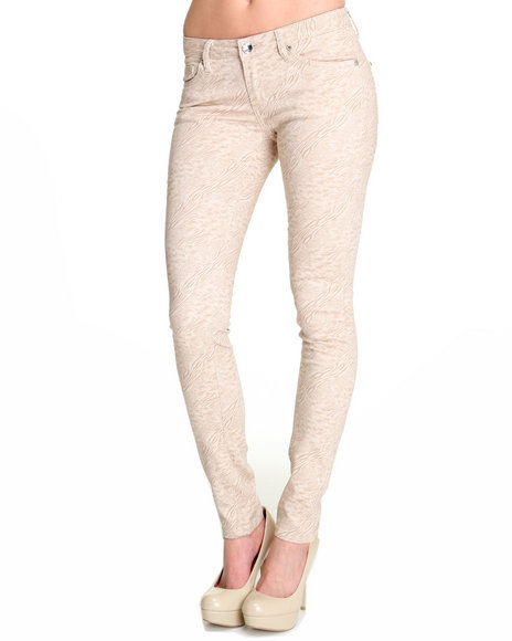 Basic Essentials - Women Cream Mixed Media Skinny Animal Print Pants