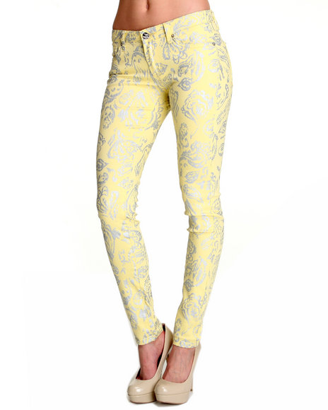 Basic Essentials Women Silver,Yellow All Over Foil Paisley Print Skinny Jean Pants