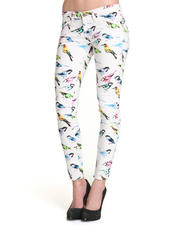 Women - Remy Low Rise Skinny Bird Print Denim