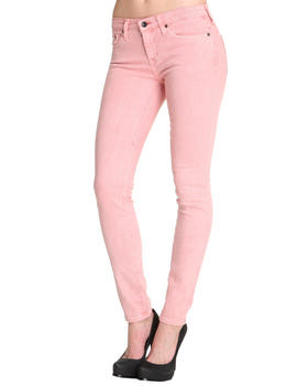 Big Star - Alex Mid Rise Skinny Coral Acid Wash Denim w/ Star Pckt Detail