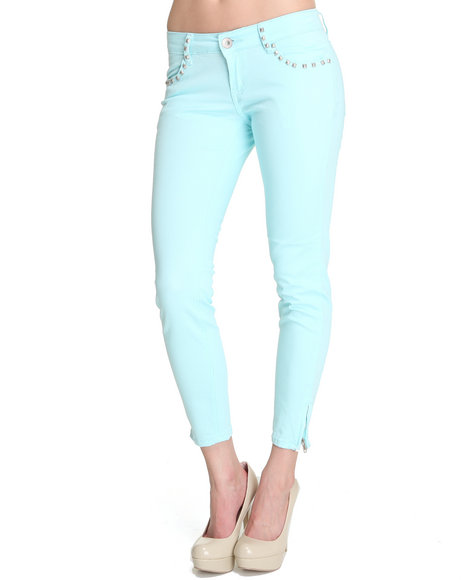 Basic Essentials Women Studded Detail Twill Skinny Pants Light ...