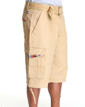 MO7 - Twill Plaid trim Cargo shorts