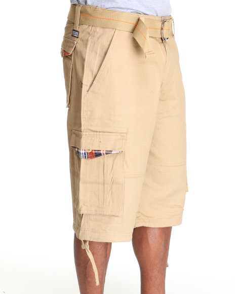 twill plaid trim cargo shorts