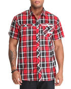 MO7 - S/S Plaid button down shirt w/ twill trim
