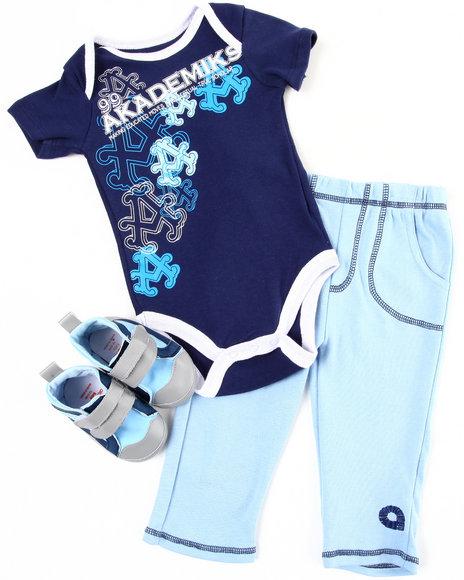 Akademiks Boys Navy 3 Pc Sneaker Set (Infant)