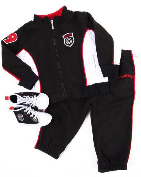 Akademiks Boys Black 3 Pc Track Suit W/ Shoe (Infant)