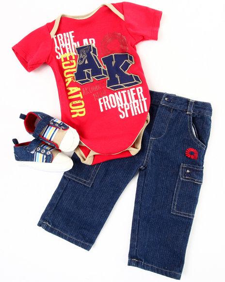 Akademiks Boys Red 3 Pc Sneaker Set (Infant)