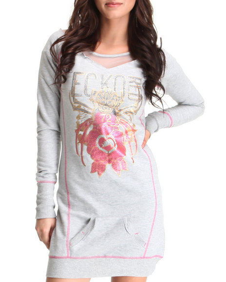 Ecko Red Women Grey Mix Fabric Active Dress