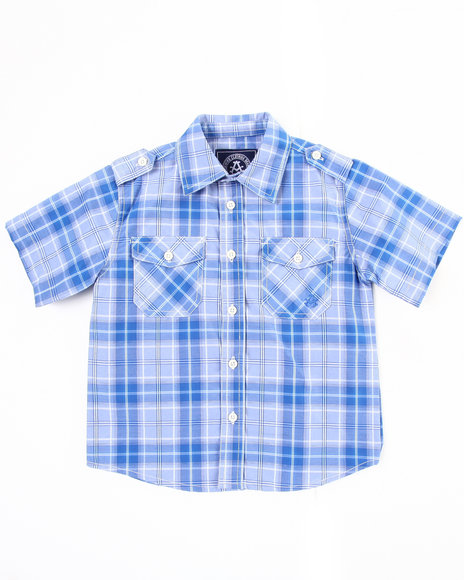 Akademiks Boys Blue Basic Plaid Woven Shirt (4-7)