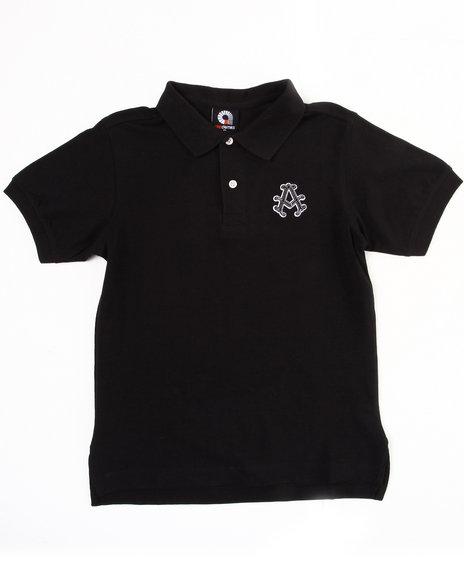 Akademiks Boys Black Solid Polo (8-20)