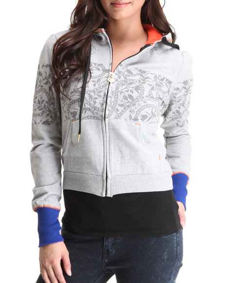 Ecko Red Women Grey Active Hoodie Jacket