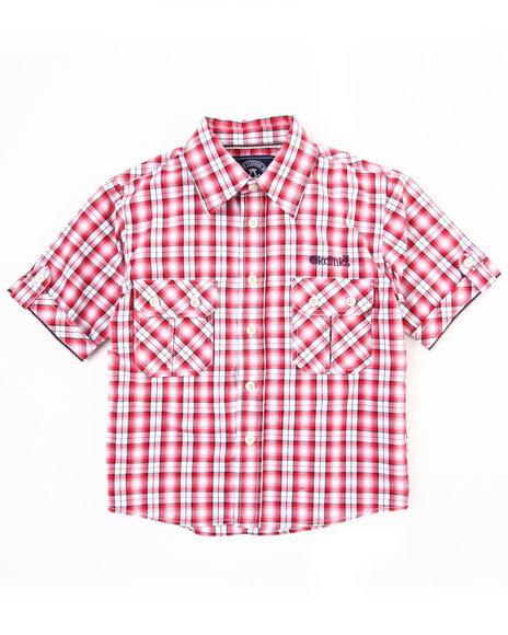 Akademiks Boys Red Plaid Woven Shirt (4-7)
