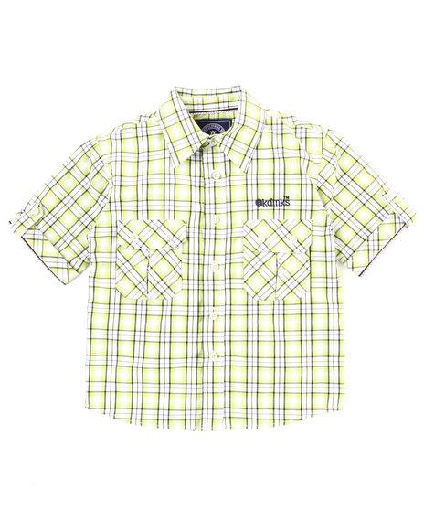 Akademiks Boys Lime Green Plaid Woven Shirt (4-7)