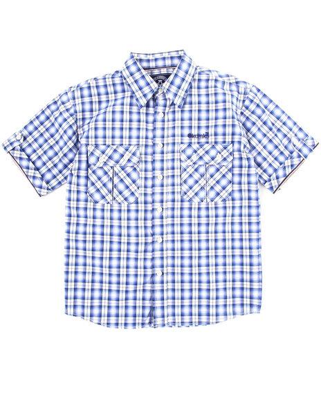 Akademiks Boys Blue Plaid Woven Shirt (8-20)