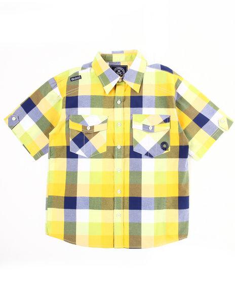 Akademiks Boys Lime Green Plaid Woven Shirt (8-20)