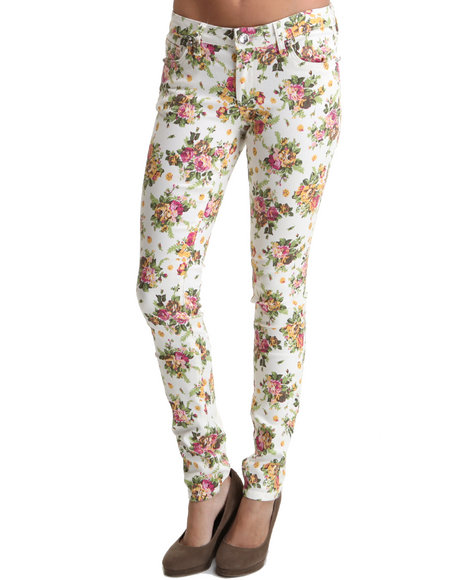 Basic Essentials Women Cream Vintage Off White Cabbage Rose Print Skinny Jean Pants
