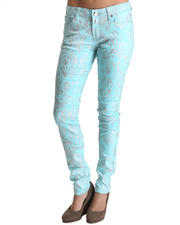 Women - All Over Foil Paisley Print Skinny Jean Pants