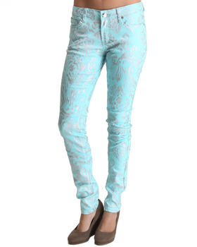 Basic Essentials - All Over Foil Paisley Print Skinny Jean Pants