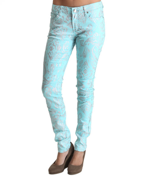 all over foil paisley print skinny jean pants