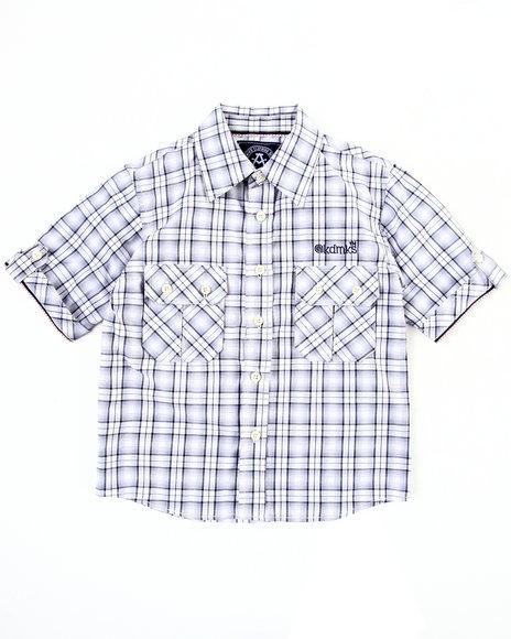 Akademiks Boys Black Plaid Woven Shirt (4-7)