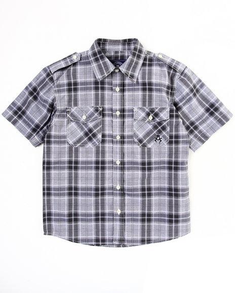 Akademiks Boys Black Basic Plaid Woven Shirt (8-20)