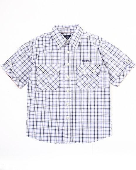 Akademiks Boys Black Plaid Woven Shirt (8-20)