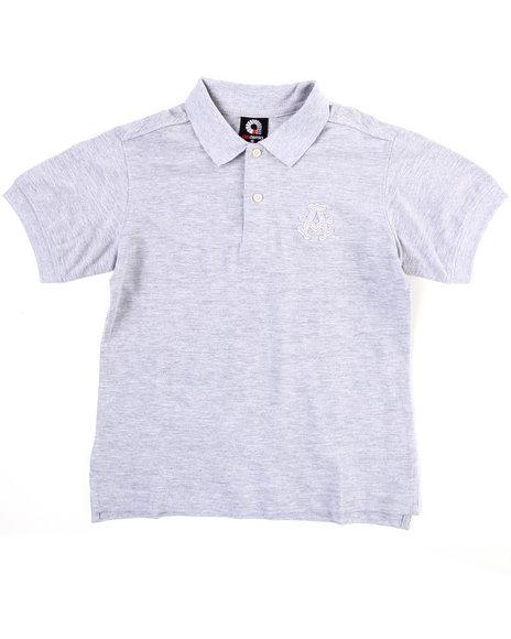 Akademiks Boys Light Grey Solid Polo (8-20)