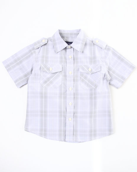 Akademiks Boys White Basic Plaid Woven Shirt (4-7)