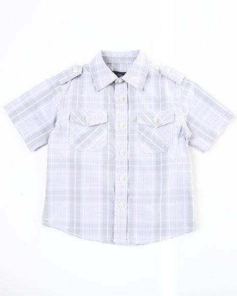 Akademiks Boys White Basic Plaid Woven Shirt (4-7)