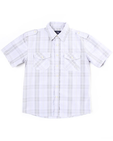 Akademiks Boys Grey Basic Plaid Woven Shirt (8-20)