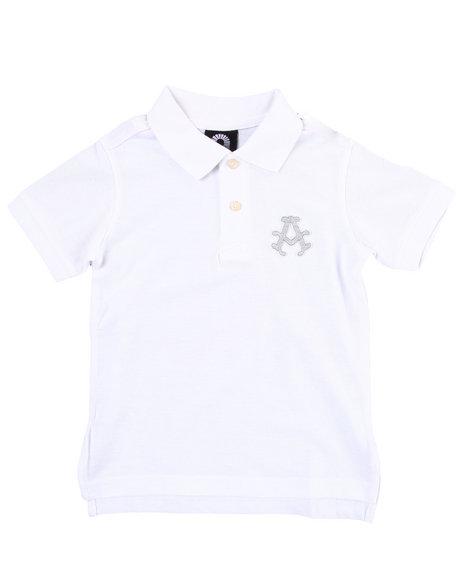 Akademiks Boys White Solid Polo (4-7)