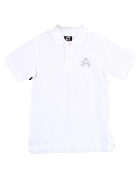 Akademiks Boys White Solid Polo (8-20)